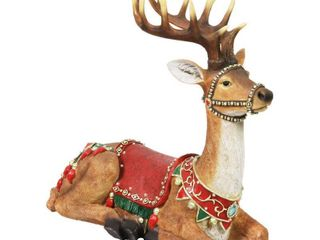 Exhart Seated lED Christmas Reindeer with Timer Garden Statue