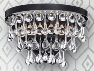 Crystal  Wall Sconce Silver Orchid Taylor 2 light Antique Black Crystal Wall Sconce