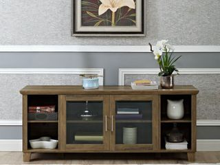 58  TV Stand with Middle Glass Doors   Reclaimed Barnwood