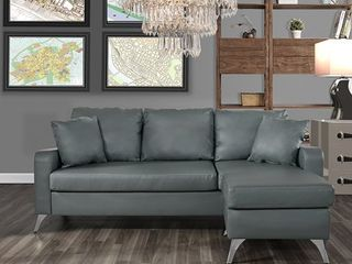 light Grey Small Space Bonded leather l Shape Sofa with Configurable Chaise Retail  423 99