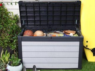 Keter Denali 100 Gallon Deck Box  Plastic Resin Outdoor Storage  Gray and Black