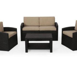 Heald Outdoor Faux Wicker 4 Seater Chat Set Black  Beige
