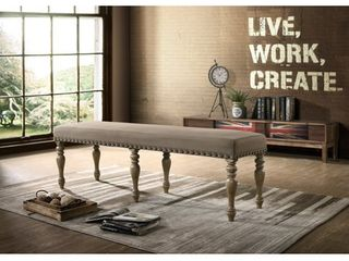 Birmingham Microfiber Upholstered Bench with Nail Head Trim in Driftwood Finish Retail 171 31
