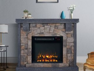 Grey 45 inch Wide Faux Stone Electric Fireplace Mantel Retail  564 99