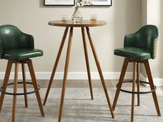 Corvus Metz Mid century Bonded leather Swivel Bar Stools  Green  Set of 2  Retail 256 49  Chairs ONlY