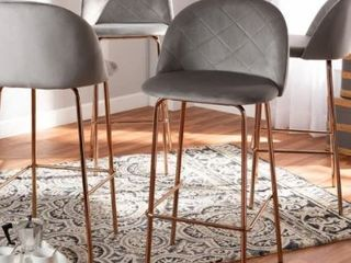 Addie luxe and Glam 4 Piece Bar Stool Set Grey RoseGold Retail 366 49