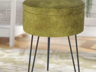 Green  Adeco Round Velvet Storage Ottoman Footstool Vanity Stool