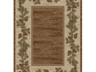 Mayberry Hearthside Mountain View Pine Cone lodge Area Rug  Retail 273 49