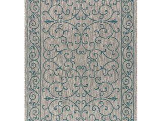 Charleston Vintage Filigree Textured Weave Indoor Outdoor Area Rug  Retail 126 49