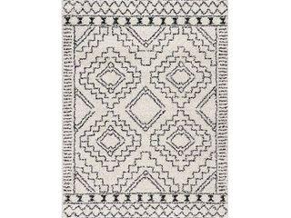 nulOOM Soft and Plush Geometric Moroccan Shag Tassel Area Rug  Retail 274 99