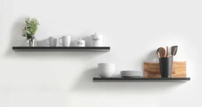 8 x 24 x  6 Floating Shelf 2 pk Black