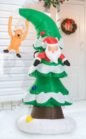 Polyester Multi 7  Outdoor lighted Inflatable Santa in Tree lawn Decoration
