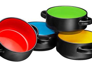 Porcelain 19 Oz  Soup Bowls With Handles   Black   4 Piece