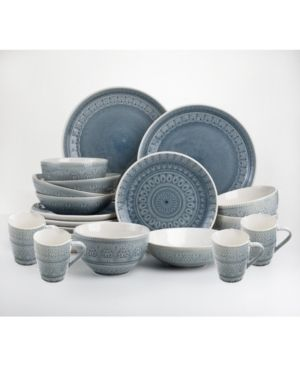 Euro Ceramica Fez 20 piece Crackle glaze Dinnerware Sets  Service for 4  Retail 83 51