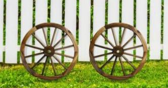 Patio Premier 402007 Patio Premier 24  Wooden Wagon Wheel  Rustic Finish  2pk