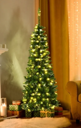 4 5 Foot  Pre lit PVC Artificial Pencil Christmas Tree Warm White lights   Stand