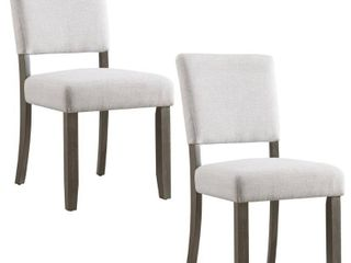 Wood Upholstered Back Dining Chair with Heather Gray Seat Set of 2  Retail 141 99