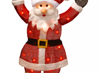National Tree Company 36  Silver Fabric Tinsel  Merry Christmas  2D Santa Claus with 20 Clear lights