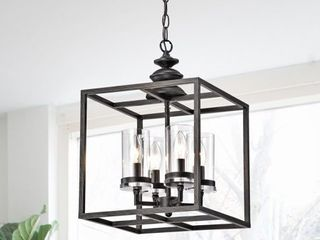 The Gray Barn 4 light Antique Black lantern Chandelier   Retail 137 49