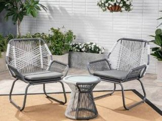 Idaho Outdoor 3 piece Woven Chat Set by Christopher Knight