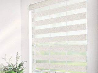 Chicology Premium Natural Cordless light Filtering Zebra Roller Shade 36 in  W x 72 in  l