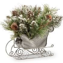 10 inch Glittery Bristle Pine Sleigh with Warm White lED lights