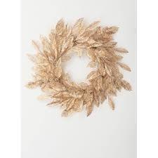Set of 2 Un lit   24 l x 5 W x 24 H   Artificial Wreaths   Plastic   Gold