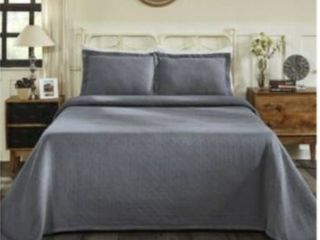 King  Superior Jacquard Matelasse Basket Cotton Bedspread Set  Retail 107 88