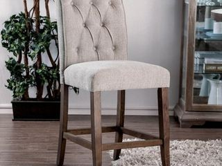 Furniture of America Sheila Contemporary Button Tufted Chenille Counter Height Chair  Set of 2  Retail 278 99