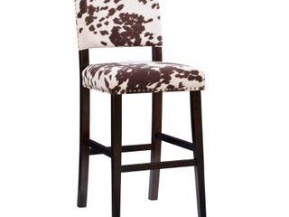 linon Holcombe Stationary Bar Stool Cattle Print Upholstery   Retail 119 99
