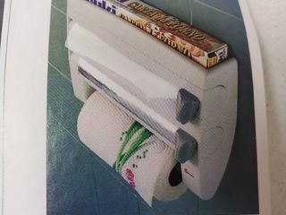 Paper Towel Holder with Integrated Wrap Dispenser