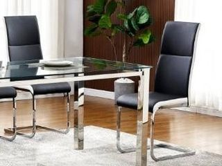 Black White Best Master Furniture Modern leather Dining Side Chairs  Set of 2  Retail 182 49
