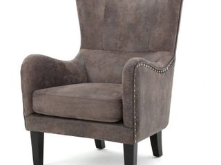 lorenzo Microfiber Wingback Club Chair by Christopher Knight Home  Retail 346 99
