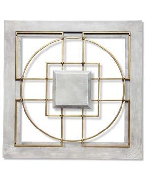 Grey Gold  Matrix 24 inch large Square Grey Gold Wall Decor