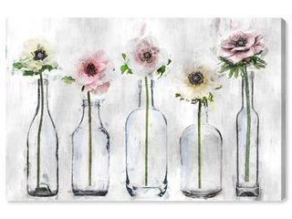 Wynwood Studio  Anemone Floral  Floral and Botanical Wall Art Canvas Print   Gray  Pink  Retail 81 48