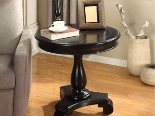 Roundhill Furniture Rene Round Wood Pedestal Side Table  Black