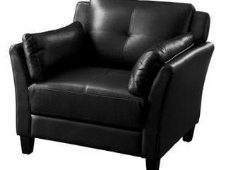 Black  Furniture of America Pierson Double Stitched Faux leather Club Chair  Retail 295 99