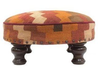 Orange  Vintage Kaye Kilim Upholstered Handmade Cocktail Ottoman  Retail 212 49