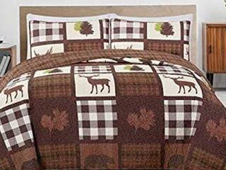 Great Bay Home 3 piece Reversible lodge Quilt Set  Queen