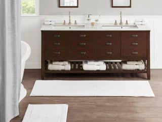 Set of 2 21 x34  Splendor Cotton Tufted Reversible Bath Rug White