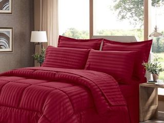 Sweet Home Collection 8 Piece Bed In A Bag with Dobby Stripe Comforter  Sheet Set  Bed Skirt  and Sham Set   King   Burgundy