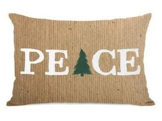Single  Peace Tree Paper   Brown 14x20 Throw Pillow by OBC