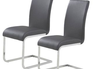 WHI SIDE CHAIR  SET OF 2  FAUX lEATHER METAl  GREY