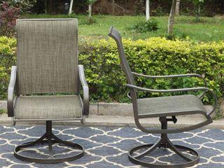 2pc Patio Swivel Rocking Chairs   Gray   Captiva Designs