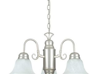 Sunset lighting F5504 53 Chandelier with Faux Alabaster Glass  Satin Nickel Finish