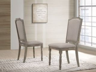 Ferran Wood Upholstered Dining Chair in Reclaimed Gray  Set of 2  Retail 153 49