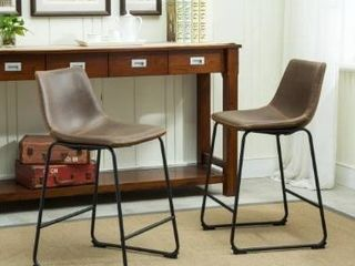 Carbon loft Inyo Vintage PU leather Counter Height Stools  Set of 2  Retail 155 49