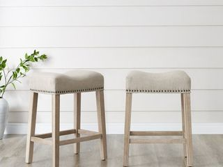 2 Roundhill CoCo Upholstered Backless Saddle Seat Counter Stools 24  height Set of 2  Tan