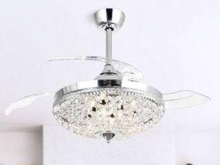 Modern Chrome Crystal 42 inch Ceiling Fan 6 light Chandelier   Retail 212 00
