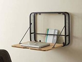 Walker Edison Modern Wood And Metal Wall Mounted Writing Desk Home Office Wor